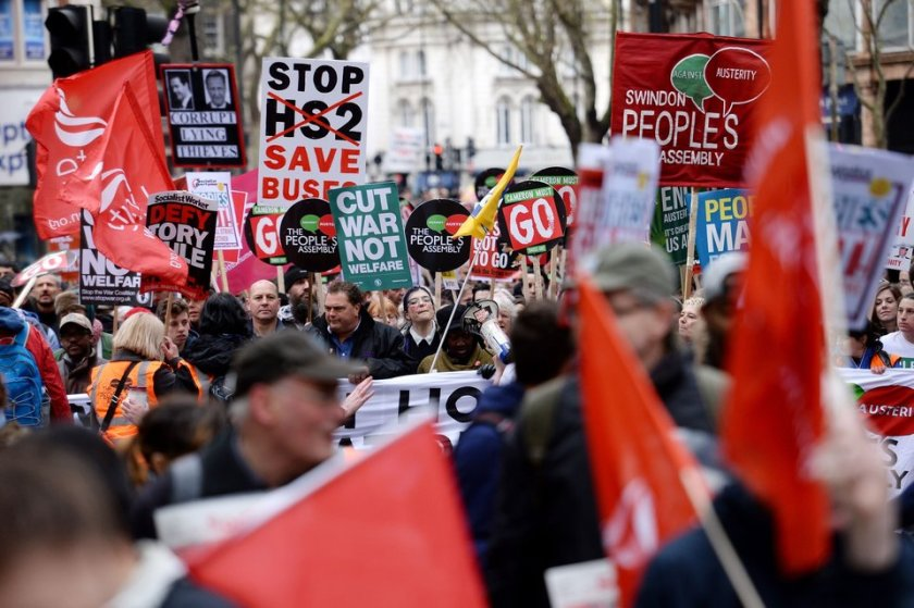 Campaigners marching in an anti-austerity demonstration in central London.